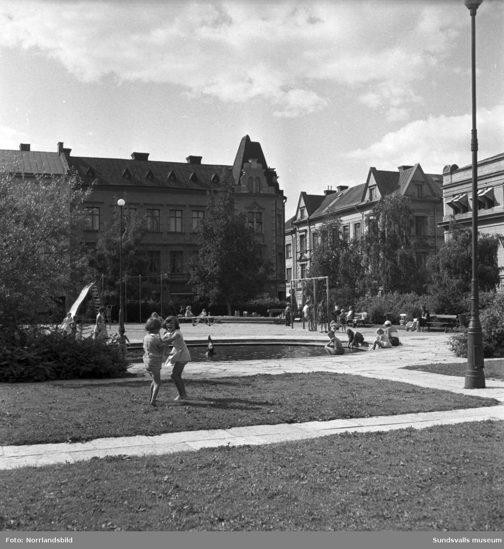 Vattenlek en varm sommardag 1954  för barnen i parken Hedern, i centrala Sundsvall.