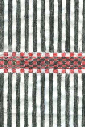 Färgskiss till dubbelbindningsmatta med namnet Röda Hund. Smala ränder i svart och vitt och i mitten ett parti med ritor i rött svart och vitt. Penna och vattenfärg på papper limmat på kartong. Osignerad originalskiss av Anna Hådell.Mattan visades i utställningen Anna Hådell och Hemslöjden på Leksands kulturhus museum 1991 och var vävd samma år. Mått 1.30x2.15.
