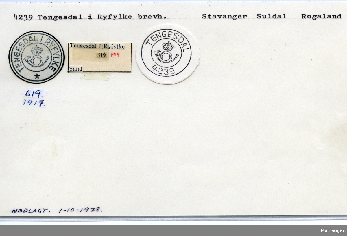 Stempelkatalog 4239 Tengelsdal i Ryfylke, Suldal, Rogaland