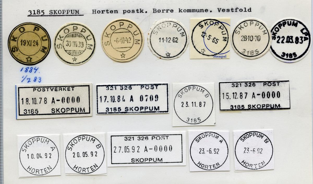 Stempelkatalog  3185 Skoppum, Borre kommune, Vestfold