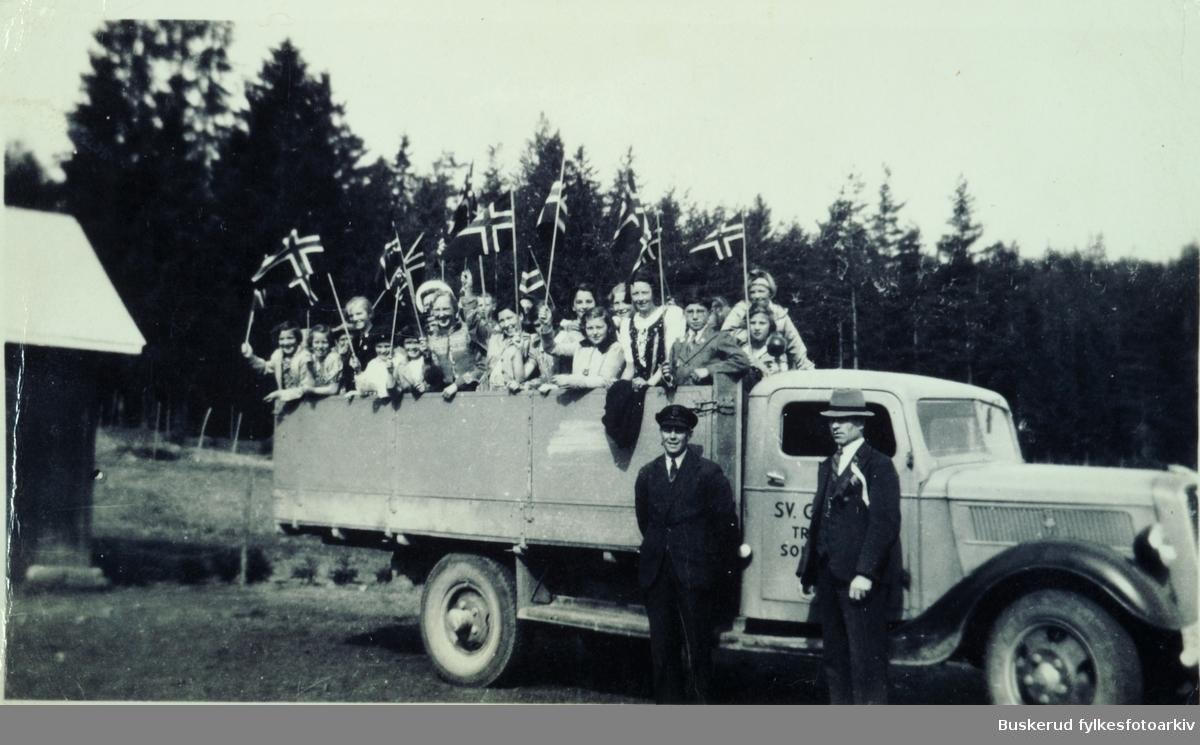 Tranby skole 17 mai på lastebil til Sokna