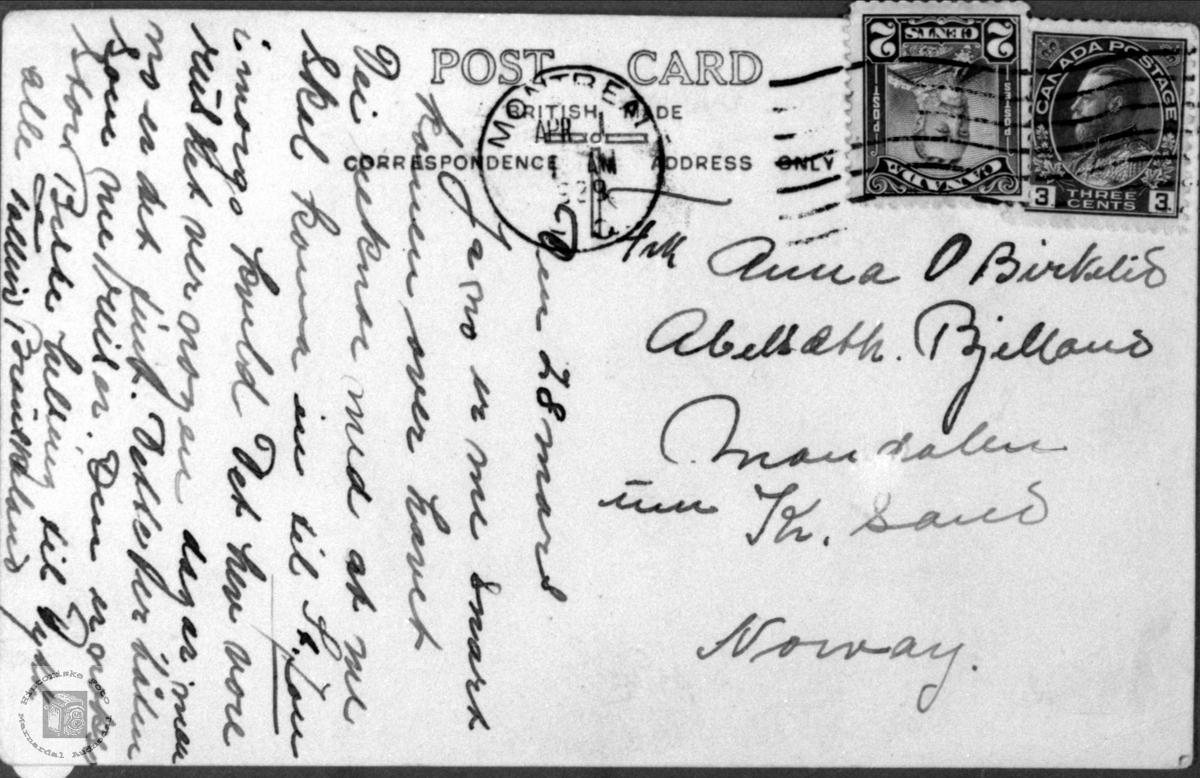 Tekst på postkort fra Montreal.