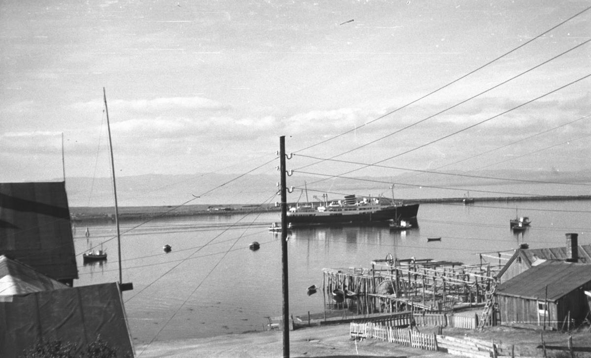 "Hurtigruteskipet M/S ""Midnatsol"" i Vadsø havn med Bekola-kaia i forgrunnen."