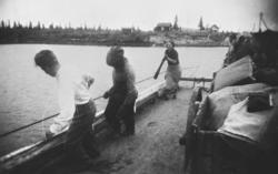 En kvinne og to menn drar ei ferge over en elv i Petsamo / P