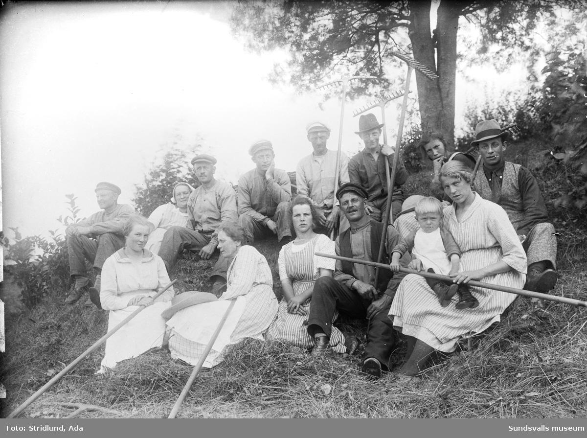 Gruppbild. Slåttanna. Mannen med hatt längst till höger är Folke Carlsson, mannen som ses överst i hatt är Einar (Helge) Carlsson.