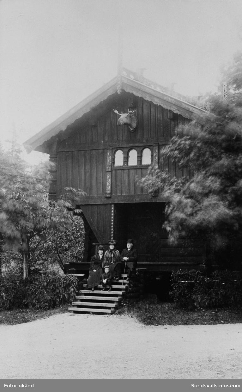 G P och Anna Braathen med sonen Gustav samt Elin Nilsson, som periodvis bodde hos familjen Braathen i Hofvid. Familjen sitter på trappan till stabburet vid Hofvids herrgård.