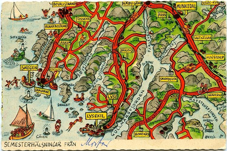 Text på vykortet: KART-KORT nr 17 DINGLE LYSEKIL Sevärdheter: Sotenkanalen, invigd 1935 / Smögen, stort fiskeläge Skredsvik, mycket vacker trakt / Gullmarsfjorden med omgivningar / Lysekil / Bokenäs ödekyrka.