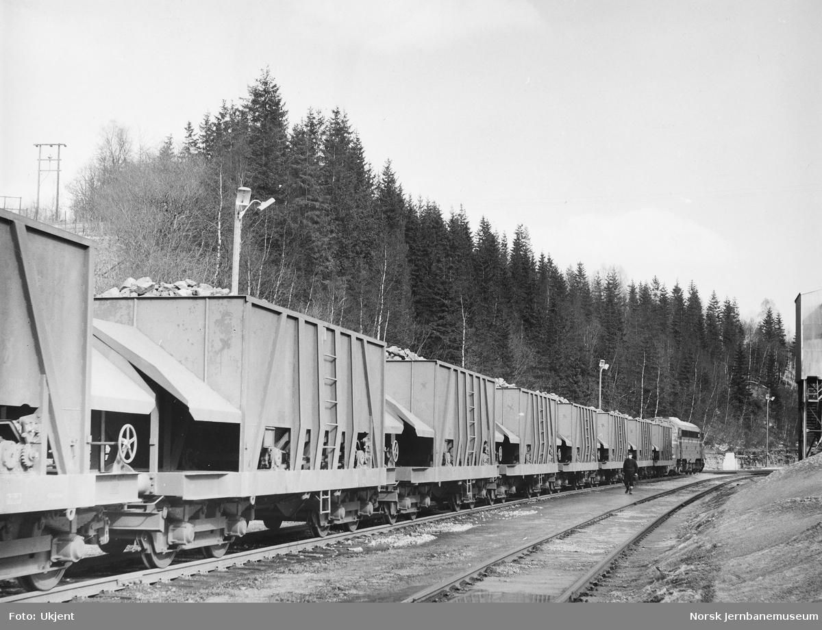 Malmtog for Rana Gruber, trukket av Di3-lokomotiv, er ankommet Gullsmedvik