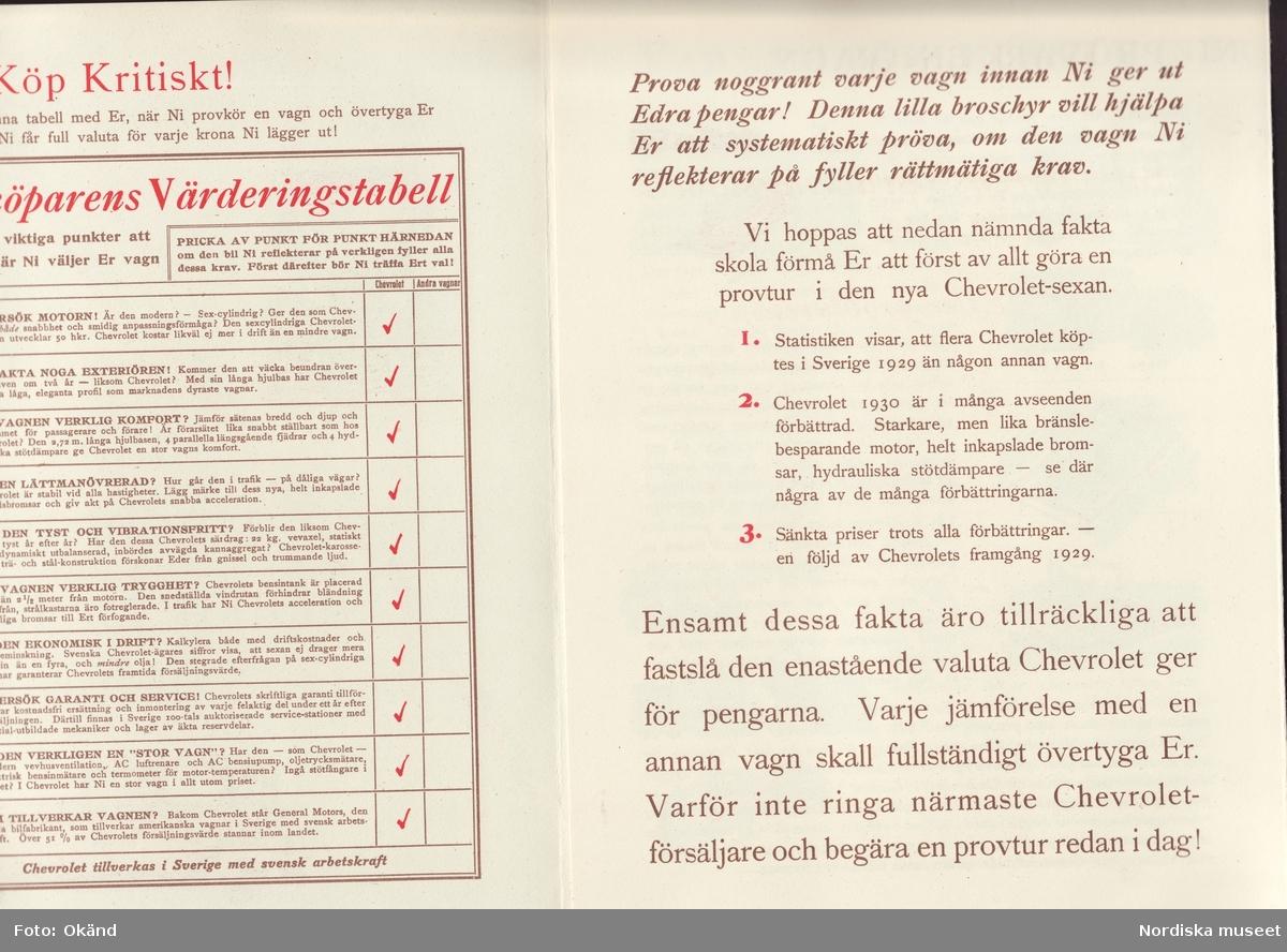 """General Motors Nordiska Ab. Broschyr """"Bilköparens Värderingstabell"""" med goda råd för provkörningen av Chevrolet-sexan, 1930. Reklammaterial från GM Nordiska."""