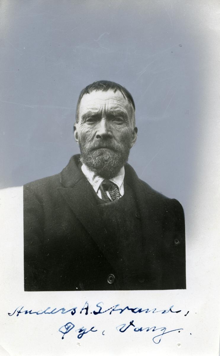 Portrett av en eldre mann iført skjorte og tørkle samt en frakk med dress under.