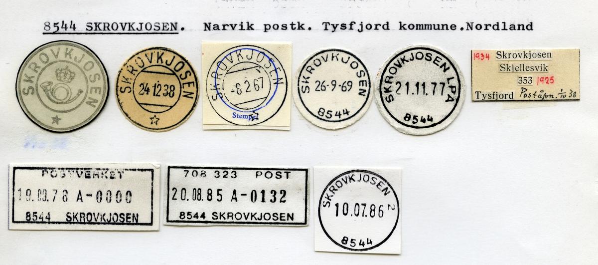 Stempelkatalog 8544 Skrovkjosen, Tysfjord kommune, Nordland