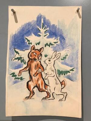 """William Lunden, original tegning til ikonisk """"Rev og hare"""" julekort fra 1943, 14x20cm, kr 2500 Selges på vegne av familien. (Foto/Photo)"""