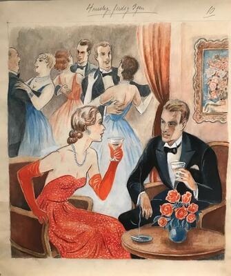 William Lunden, original tegning, Nyttårsfest, 42x46cm, kr 5000 Selges på vegne av familien. (Foto/Photo)