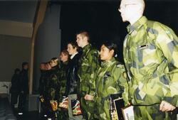 Ceremoni. Hemvärnet på fritidsgården på Ing 2. Hemvärnssolda