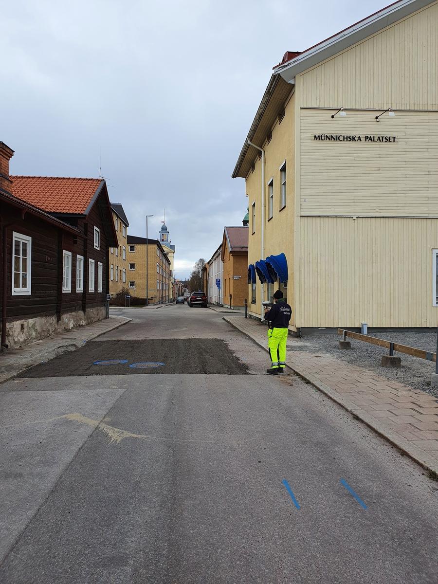 Arkeologisk schaktningsövervakning, Prästtägten Västra Falun.Översikt, igenlagt schakt från sydöst