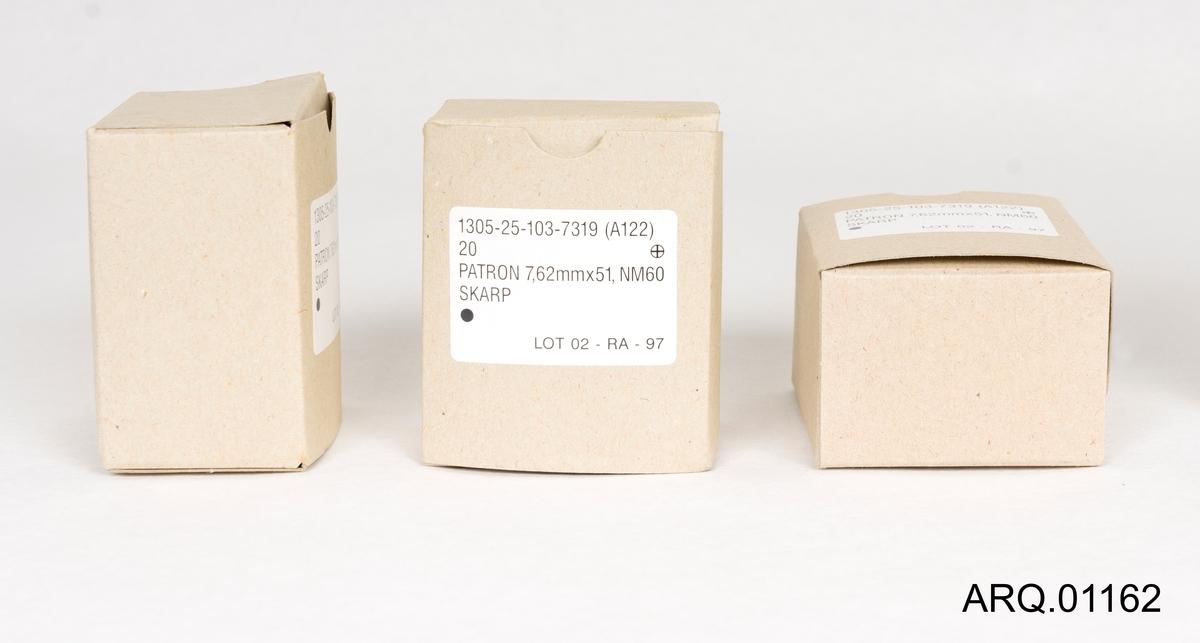 3 stk tomme patronesker til patron 7,62 mmx51, NM60 Skarp. Kan være produsert på Raufoss.