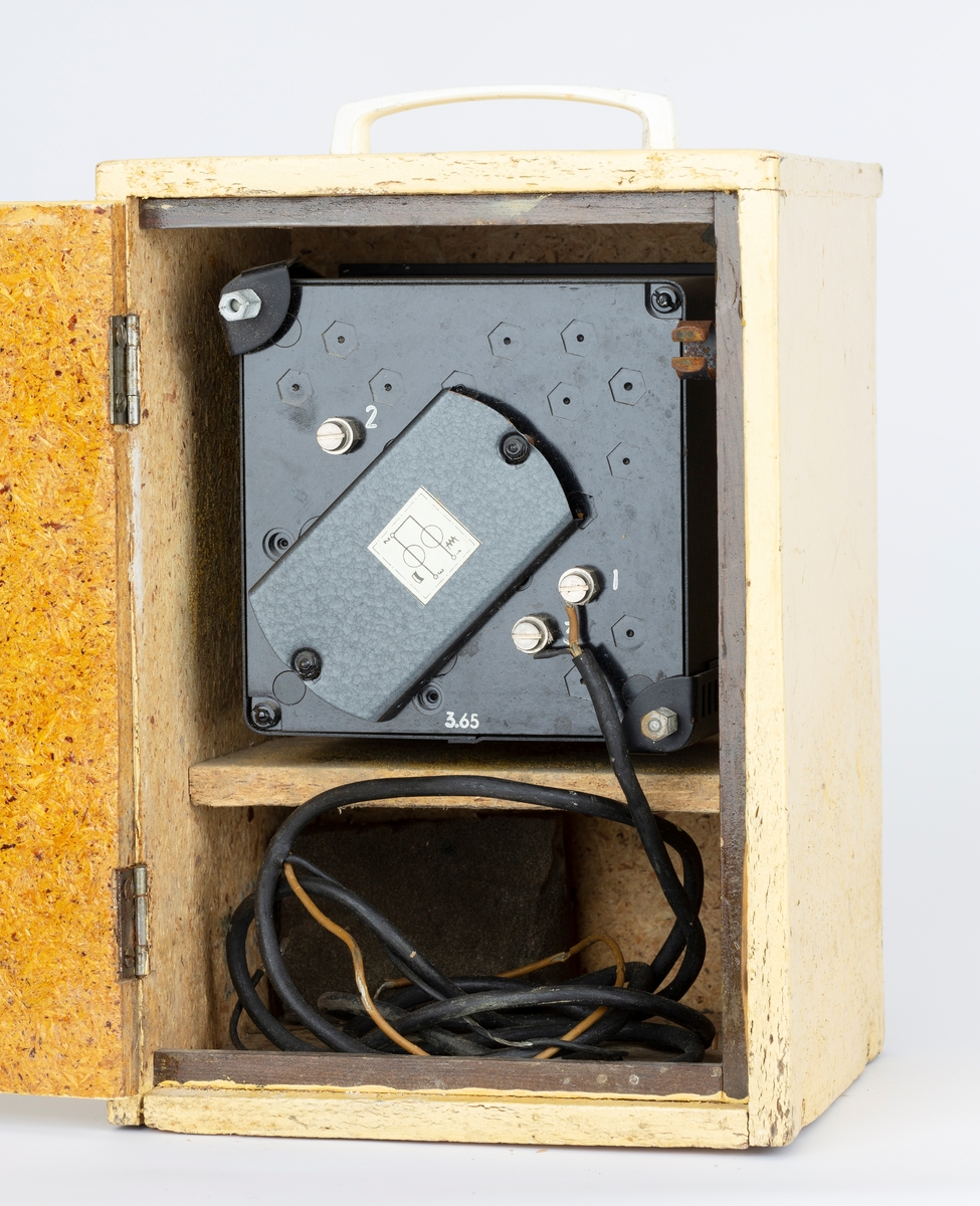 Amperemeter bygget inn i trekasse. Hengslet lokk foran måleskala og hengslet bakplate. Håndtak på topplate.