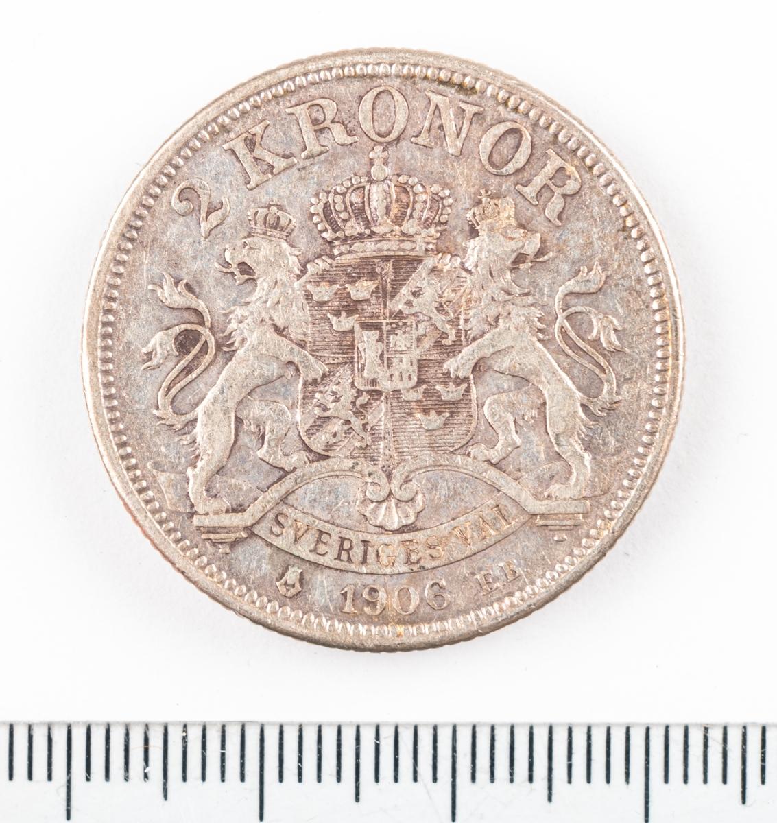 Mynt, Sverige, 2 kronor, 1906.