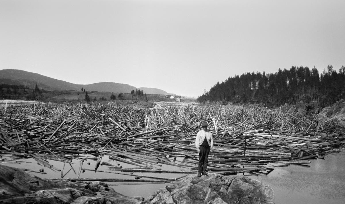 Edv. Lapstuen foran en stor tømmervase. Bru i bakgrunnen av bildet. Glomma ved Braskeridfoss, Våler, Hedmark.