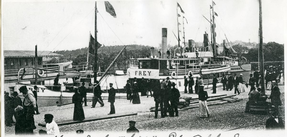 Västerås, Munkängen. Ångfartyg i Gamla hamnen, 1900.