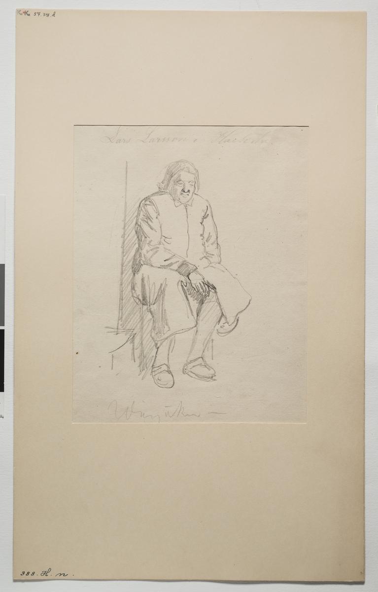 Blyertsskiss. Sittande man  i dräkt i helfigur.  av J.V. Wallander