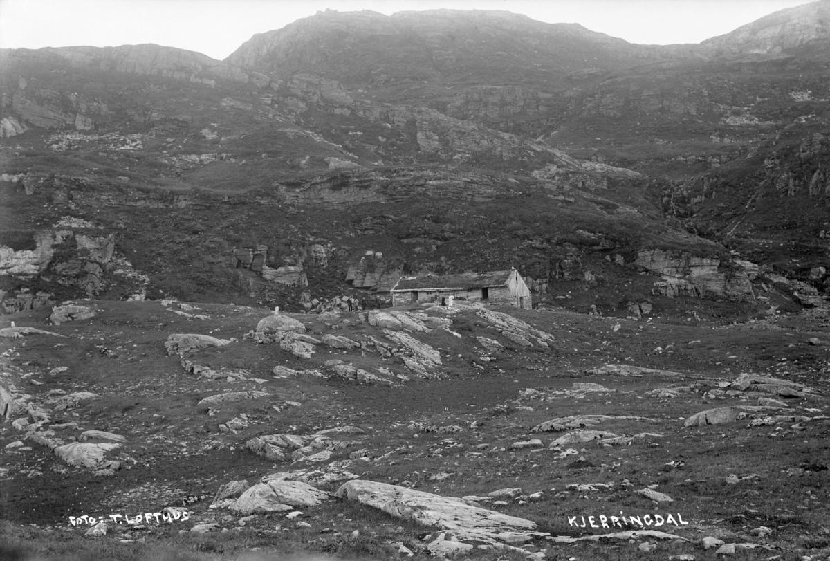 Fotografi av Kjerringdalsstølen, 1913. Tørviksbygd, Kvam, Hordaland. Fotograf: Torstein Lofthus.