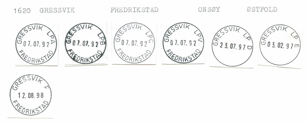 Stempelkatalog 1620 Gressvik (Græsvik), Fredrikstad, Onsøy, Østfold