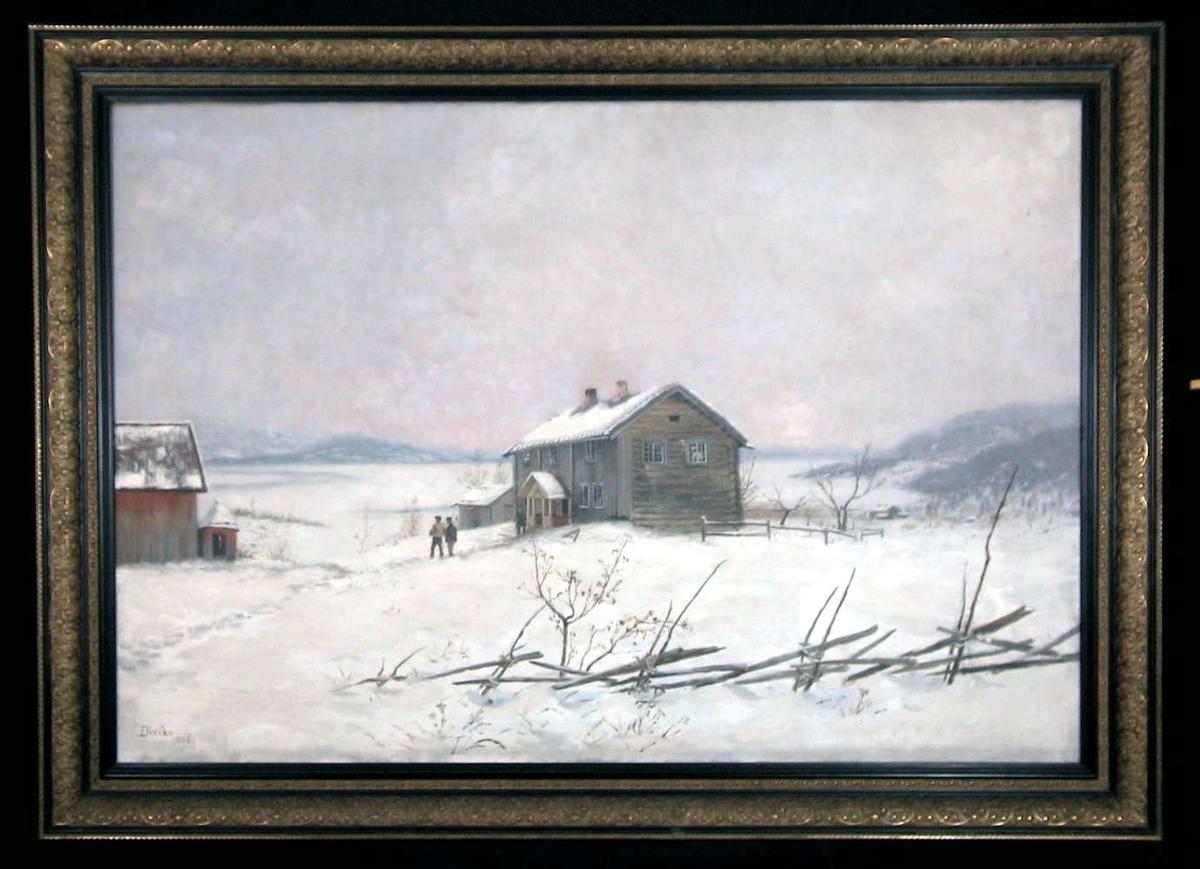 Vinterlandskap med et våningshus. Skigard i forgrunn.