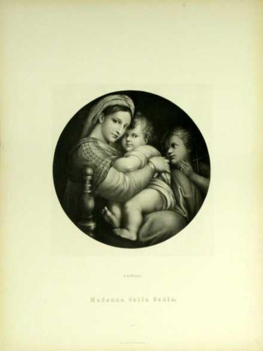 Mor og barn med en engel i bakgrunnen.