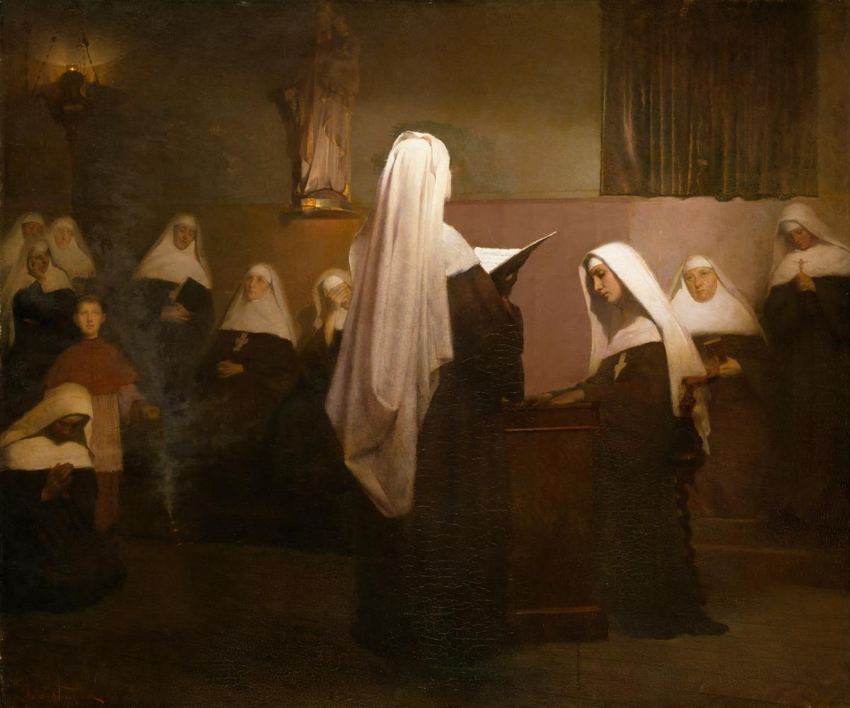 Julenattsmesse i et fransk kloster [Maleri]