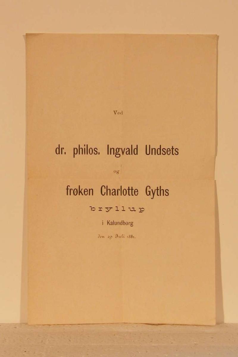 Bryllupssang trykket i oktav. Finnes i to eksemplarer.