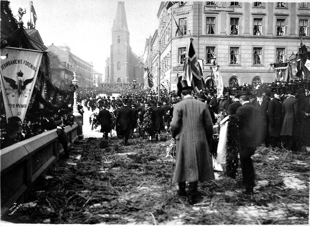 Kristiania, begravelse, flagg,