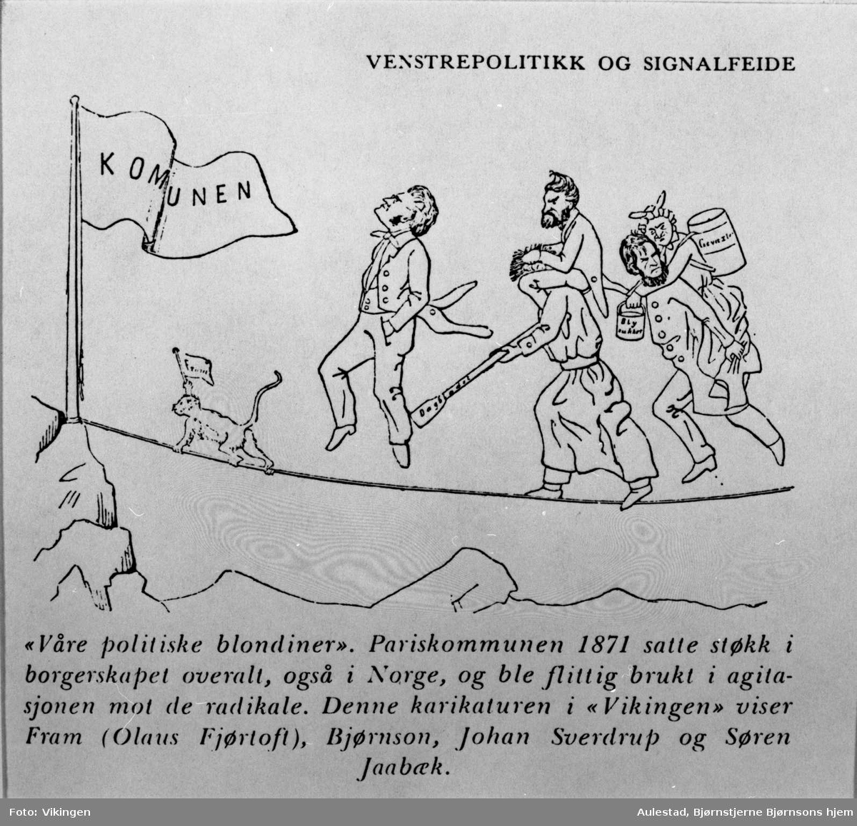 Karikatur, Bjørnson, Sverdrup, Fram, Jaabæk, Pariskommunen,