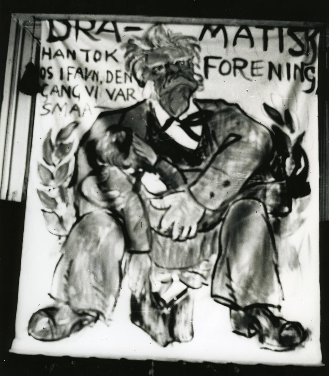 Karikatur, Bjørnson, Dramatisk forening, banner,