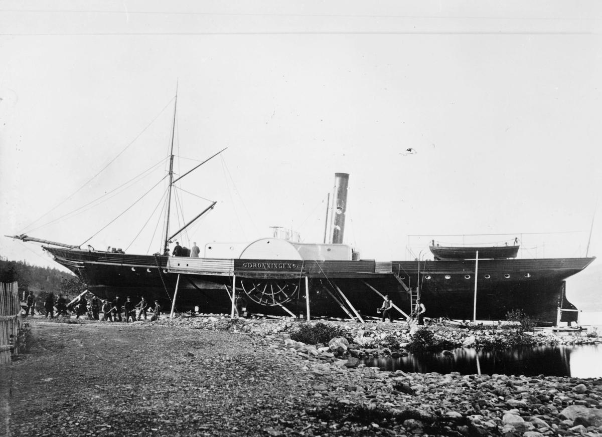transport båt, eksteriør, Mjøsa, D/S Dronningen, ved land