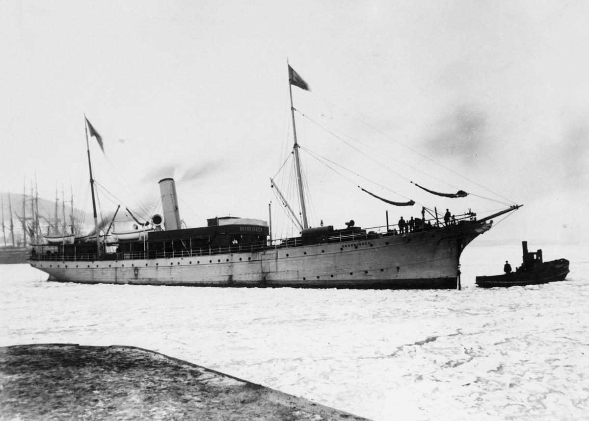 transport båt, eksteriør, Dronningen, i havn, Oslo-Bergen