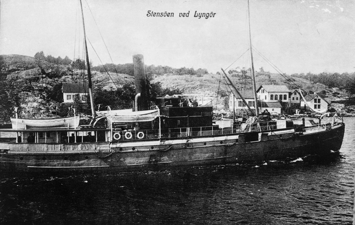 transport, båt, Stensøen Lyngør, postbåten Brevik, rute Brevik-Arendal, ved kai