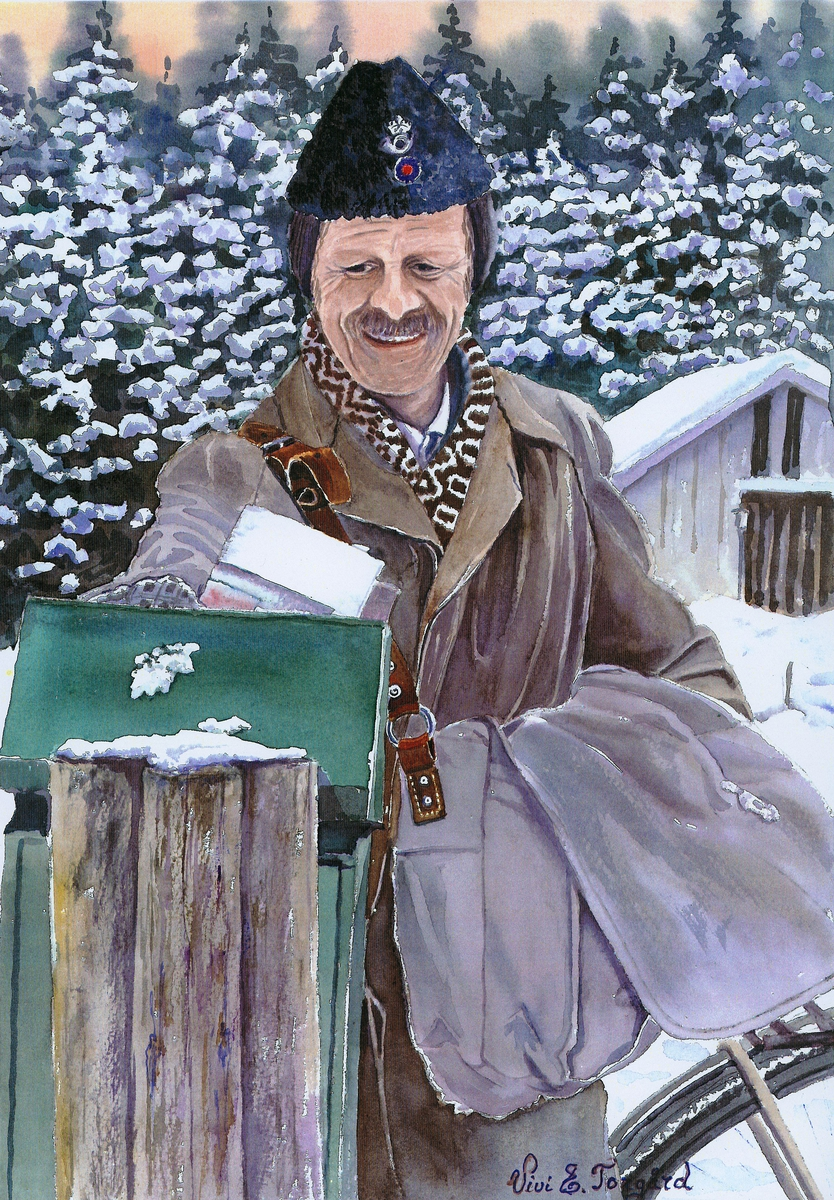 omdeling, landpostbud, vinter, leverer post i postkasse, postveske, postuniform, astrakanlue med postlogo og kokarde,  Ole Aarnes Berg, Ola Lensmann