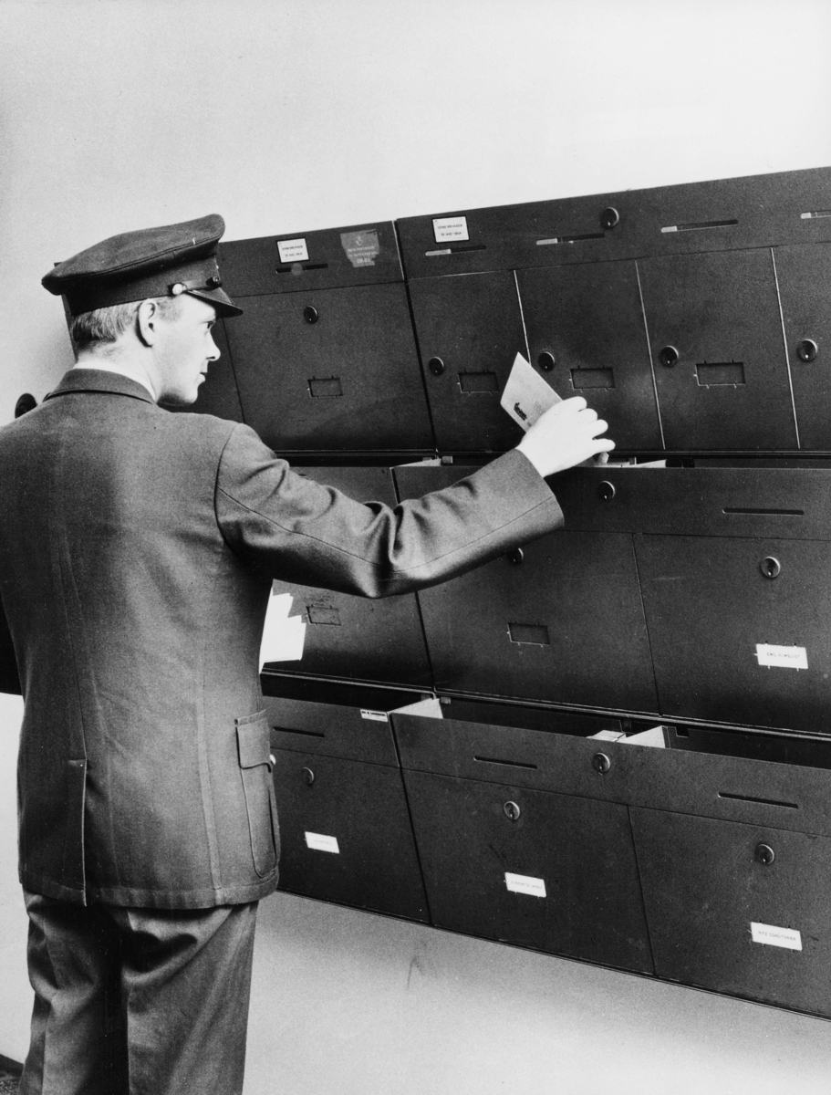 postkasser, private, postkasseanlegg, postbud, interiør