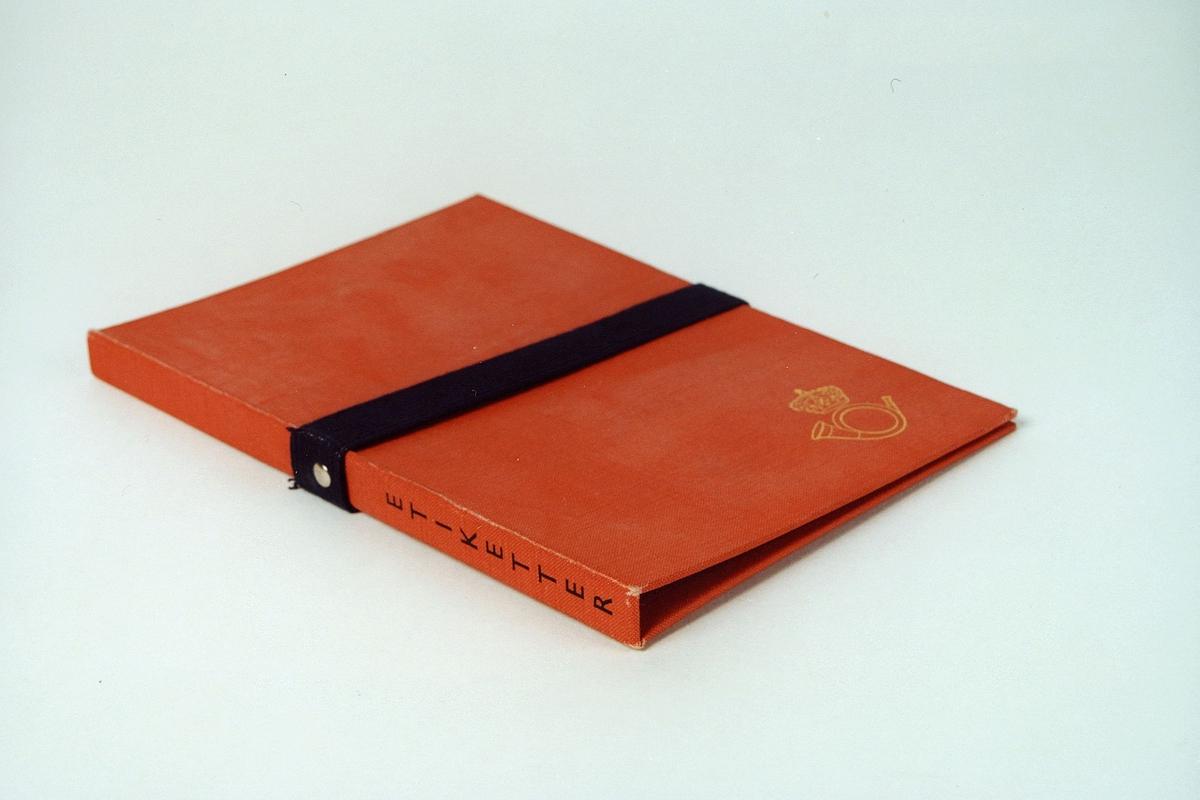 Postmuseet, gjenstander, mappe, etikettmappe med strikk
