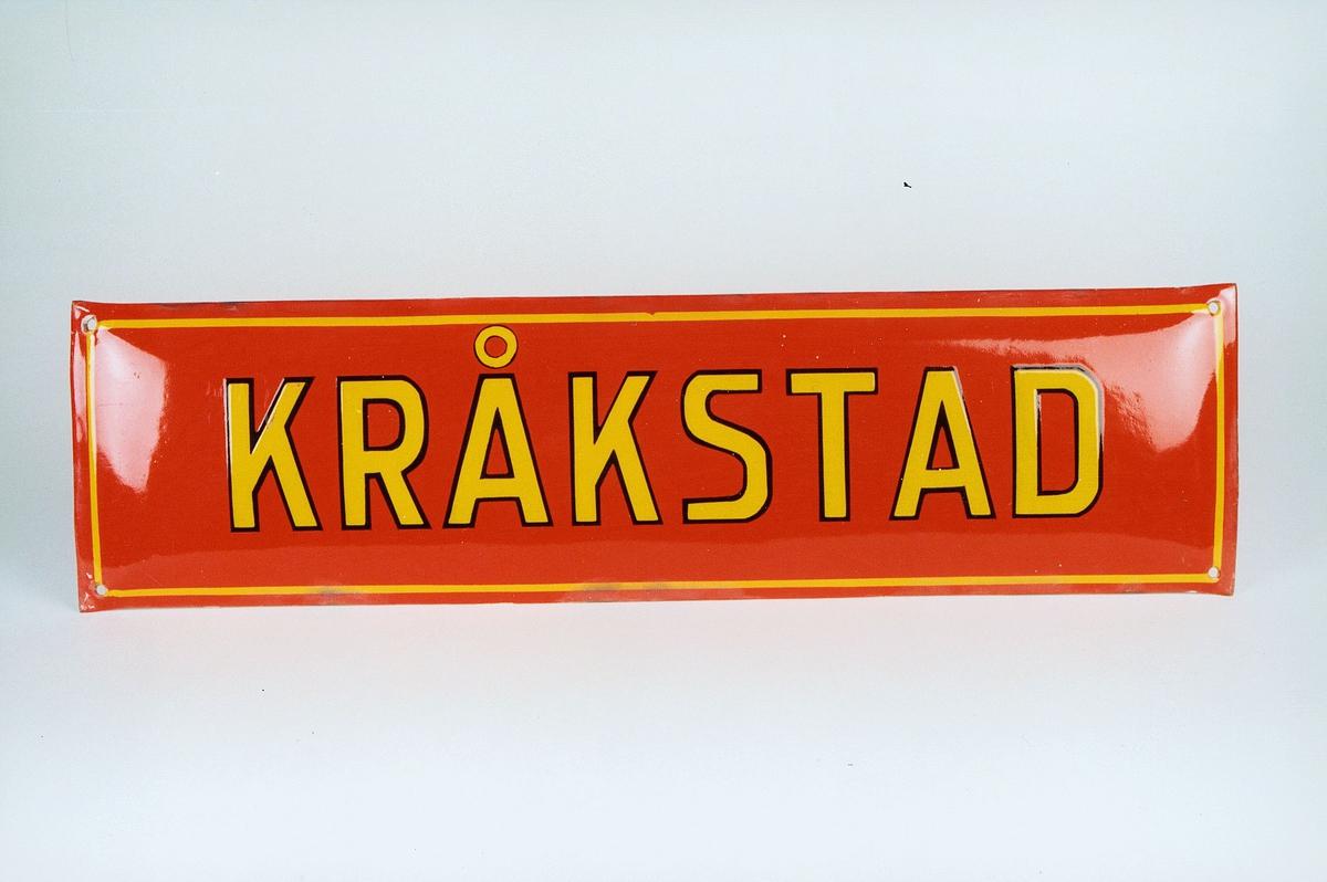 Postmuseet, gjenstander, skilt, stedskilt, stedsnavn, Kråkstad.