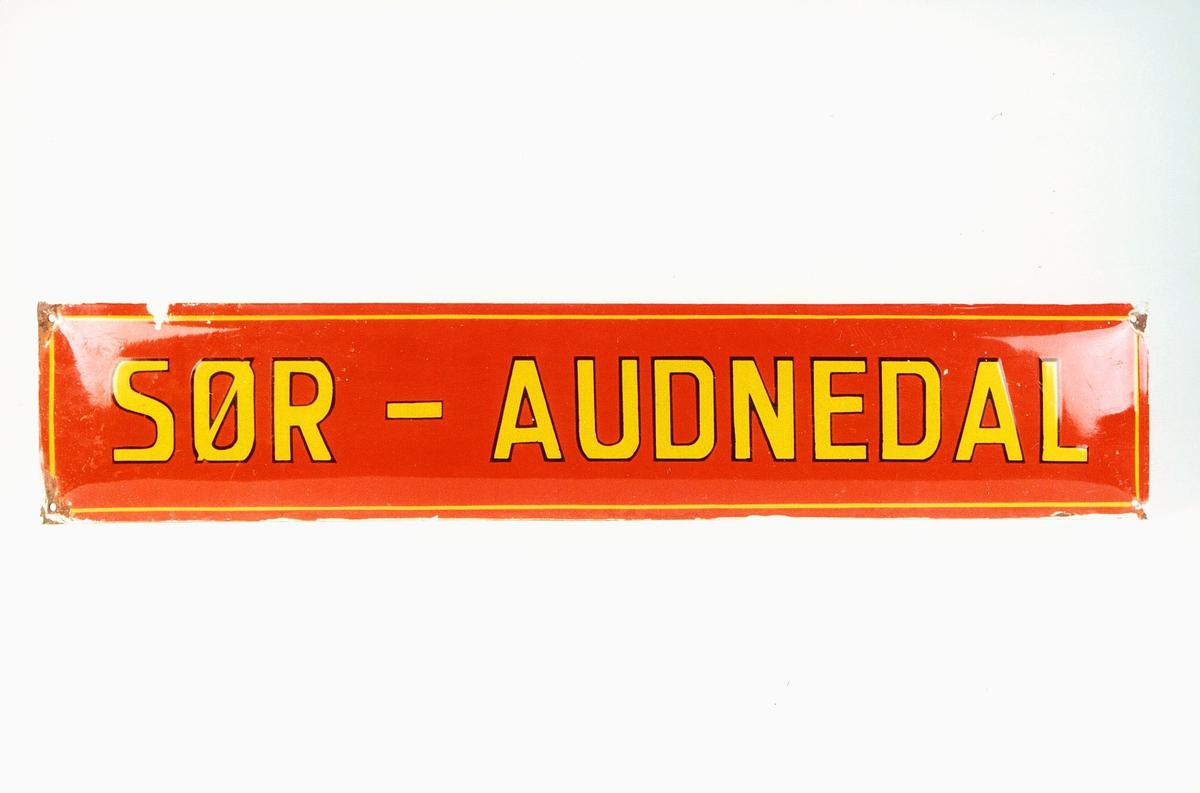 Postmuseet, gjenstander, skilt, stedskilt, stedsnavn, Sør-Audnedal.