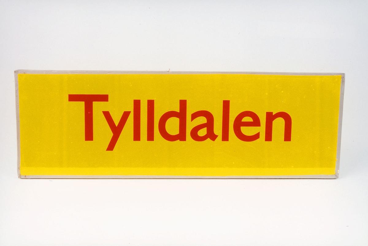 Postmuseet, gjenstander, skilt, stedskilt, stedsnavn, Tylldalen.
