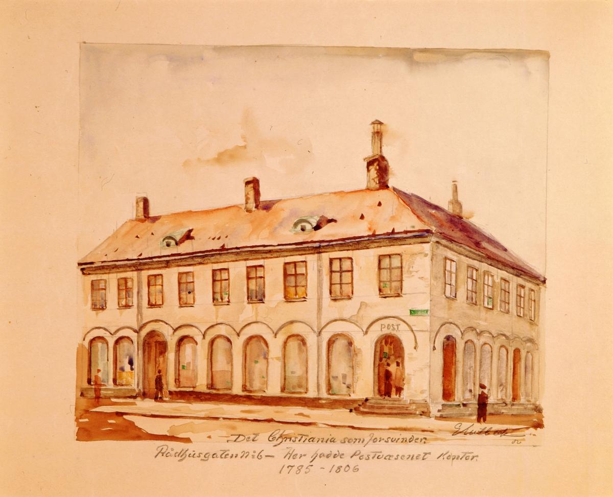 """postmuseet, kunst, akvareller, G. Kulbeck: """"Det Christiania som forsvinder, Rådhusgaten no. 6"""", eksteriør, Her hadde Postvæsenet kontor 1785-1806, motivet finnes også på CD-rom PRO1, bilde nr 92"""