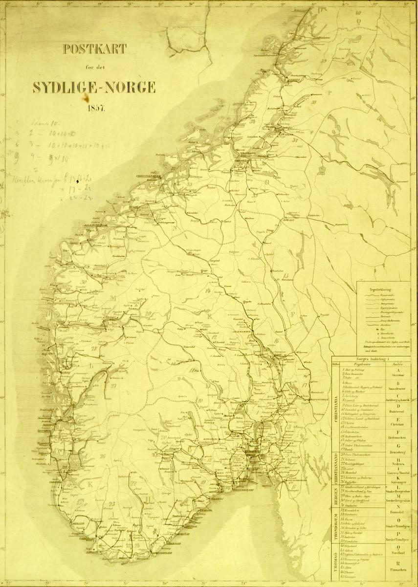 kart, postkart for det sydlige - Norge 1857