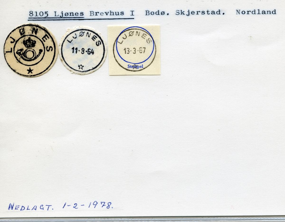 Stempelkatalog, 8105 Ljønes, Bodø, Skjerstad kommune, Nordland