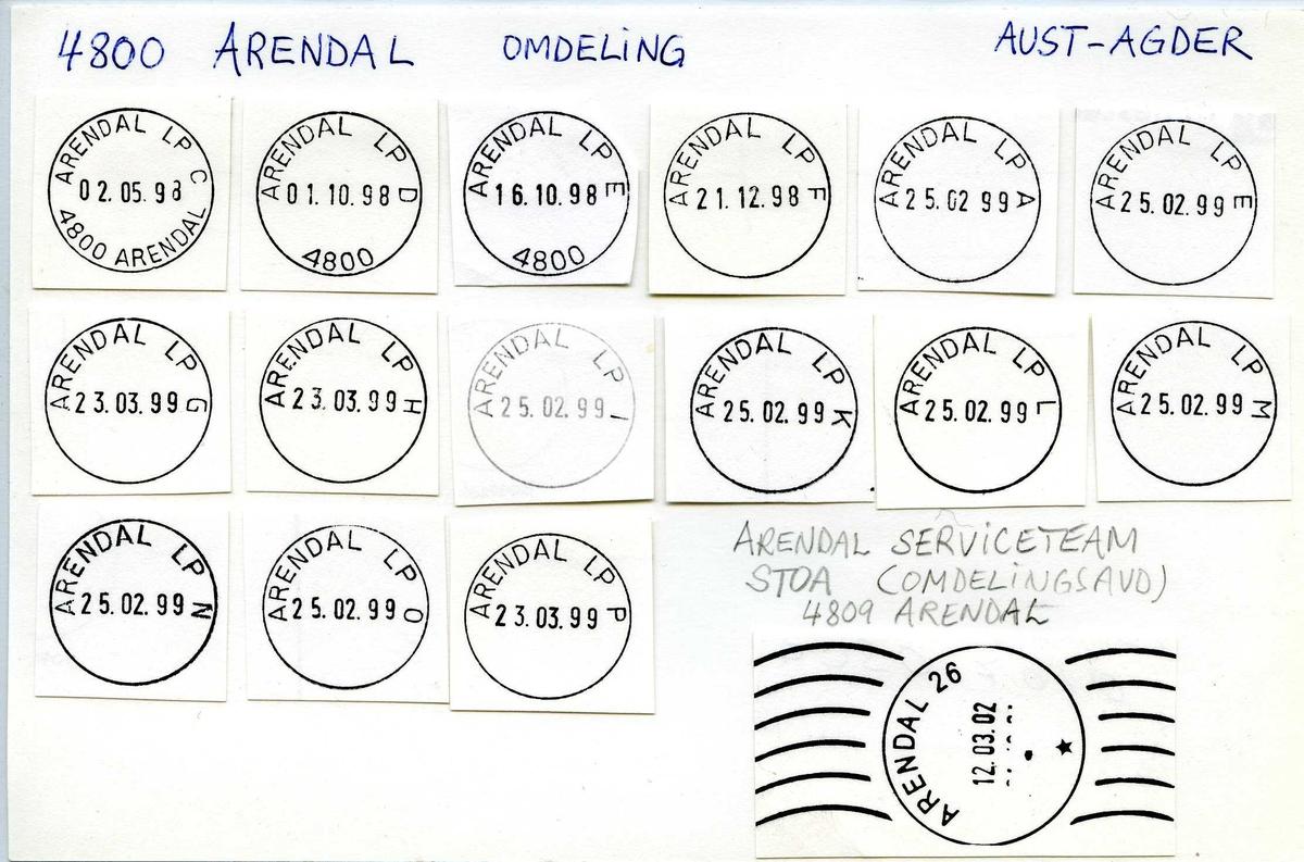 Stempelkatalog, 4800 Arendal postkontor. Aust-Agder. Arendal omdeling. K.N.S. Landsregatta.