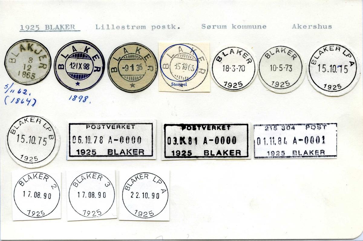 Stempelkatalog, 1925 Blaker, (Blakjer), Lillestrøm, Sørum, Akershus