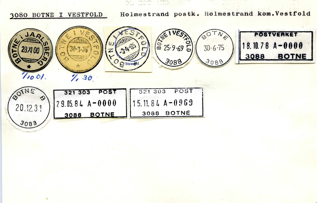 Stempelkatalog, 3080 Botne i Vestfold, Holmestrand postk, Holmestrand kommune, Vestfold