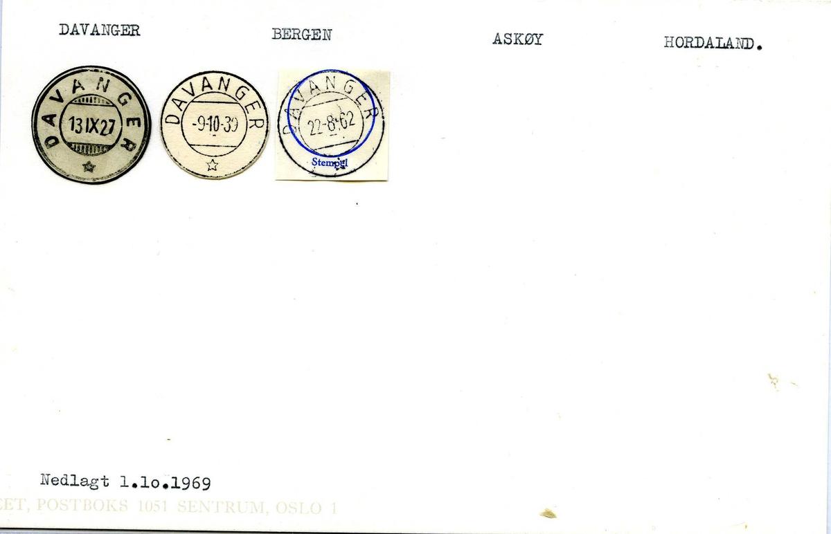Stempelkatalog, Davanger. Bergen postkontor, Askøy kommune, Hordaland fylke.